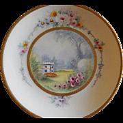 "Pickard Studio Hand Painted ""Versailles Garden"" Pattern Cabinet Plate -  Signed E Ch"