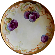 D'Arcy Studio Hand Painted Cabinet Plate w/Purple Plums Motif - Artist Signed