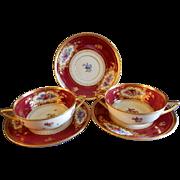 Dresden Porcelain - (2) Cream Soups w/Saucers + Saucer - Dresden Flowers Motif - Franziska Hir
