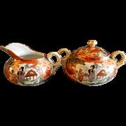 Meiji Period Japanese Satsuma Porcelain Hand Painted. Gold & Moriage Sugar & Creamer Set