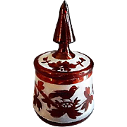 19c Bohemian Hand Blown Ruby Stained & Frosted Glass Covered Powder Jar