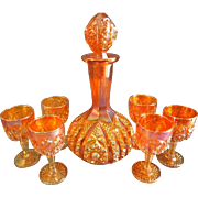 "Imperial Glass Marigold Carnival 8-Piece ""Octagon"" Pattern Wine Decanter & Glasses"