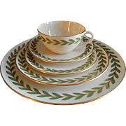 Four - 5 Pc. Place Settings - Lenox Porcelain Athenia (Rim Shape) Laurel Wreath Pattern X-421