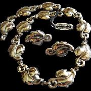 "Danecraft Sterling Silver Mid-Century ""Leaf"" Necklace & Screw-back Earrings"