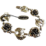 "Danecraft Sterling Silver Mid-Century ""Roses & Leaves"" Bracelet"