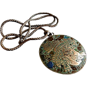 """Mexican """"HS"""" Sterling Silver & Inlay Mayan Aztec Warrior Face Pendant Necklace"""