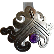 Mexican Sterling Silver and Amethyst Cabochon Aztec Design Brooch