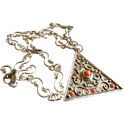 """Mid Century Sterling Silver """"Triangle"""" Pendant Necklace w/Coral Cabochons"""