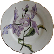 Charles Haviland & Co. Hand Painted Cabinet Plate w/Orchid Blossoms & Bud Motif - Artist Signe