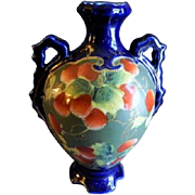 Oriental Porcelain Hand Painted Cobalt Blue Vase w/Strawberries & Foliage Motif
