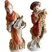 Pair of Victorian-Style Porcelain & Lace Figurines - French Lady & Gentleman With Musical Inst
