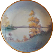 Pickard Studio Hand Painted Country Lake In Autumn Scenic Pattern Cabinet Plate -  Vellumn Fin