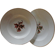 "Set of 2 - 1880's Charles Haviland & Co. Limoges ""Moss Rose"" Pattern Large Rim Soup"