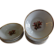 "1870's  Charles Haviland & Co. Limoges ""Moss Rose"" Pattern - Set of 10 Fruit/Sauces"