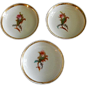 "Set of 3 - 1880's Charles Haviland & Co. Limoges ""Moss Rose"" Pattern Individual Butt"