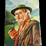 Primitive Oil Painting Portrait of Bavarian Gentleman on Wood Panel - Signed Seiffert