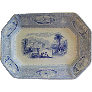 "John Wedge Wood Blue Transfer Ironstone ""Columbia"" Pattern Platter"