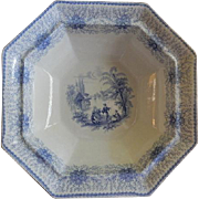 """William Adams & Sons """"Persia"""" Pattern Blue Transfer Open Vegetable Bowl"""