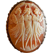 "Victorian Shell Cameo ""Three Graces"" Brooch/pendant"