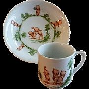 Rose O'Neill Wilson/Prussia Royal Rudolstadt - Kewpie Decorated Child's Bowl & Mug