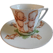 Rose O'Neill Wilson/Prussia Royal Rudolstadt - Kewpie Decorated Child's Cup & Saucer