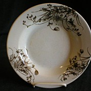Ironstone Brown Transfer-ware Bowl in Daisy Pattern