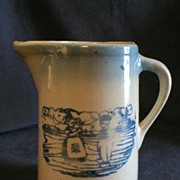 Blue & White Stoneware Tankard Pitcher w/Dutch Scene Design