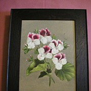 SALE Mission Oak Picture Frame With Floral Oil Painting