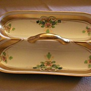 Pickard Studio Hand Painted 'Russian Flowers' Series Divided Sugar-Cube Server with Handle