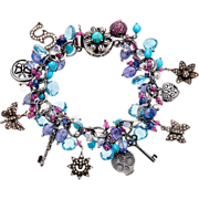 Pave Diamond, Turquoise, Moonstone, Topaz, Sapphire and Tanzanite Sterling Silver Bracelet