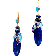 Lapis, Moonstone, Opal, Sapphire, Topaz and Turquoise 18k Gold Dangle Earrings