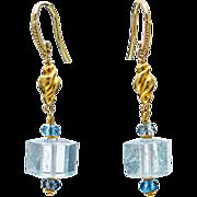 SALE PENDING Aquamarine and 18K Gold Dangle Earrings
