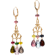 Multi-Colored Tourmaline 18K Yellow Gold Dangle Earrings
