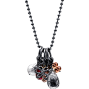 Oregon Sunstone, Quartz, Ruby, South Sea Pearl and Pave Diamond Sterling Silver Necklace