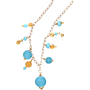 Rare Sleeping Beauty Turquoise-14k and 18k Yellow Gold Necklace One Of A Kind