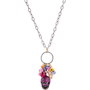 Ruby Sapphire Skull Sterling Silver and Gold Necklace