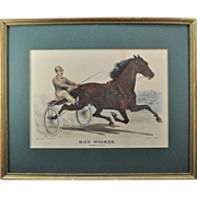 "SOLD Original Currier & Ives Hand Colored Lithograph ""Roy Wilkes"" Horse Racing Print"