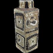 "Royal Copenhagen Aluminia Fajance ""Baja"" Square Vase Mid Century Modern"
