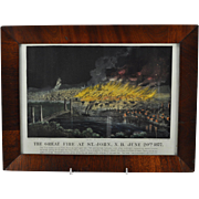 "Original Currier&Ives Hand Colored Lithograph ""The Great Fire at St. John"" 1877"