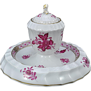 Rare Herend Hungary Raspberry Chinese Bouquet 3 Piece Inkwell Inkstand