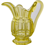 Rare 8 Inch Antique Block and Bar Canary Flint Glass Milk Jug Pitcher 1850