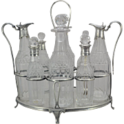 SOLD George III Sterling Silver Cruet Stand with Cut Glass Condiment Bottles 1797