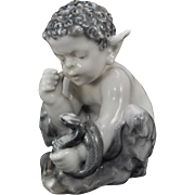 Rare Early Royal Copenhagen Young Faun with Snake Porcelain Figurine # 1712