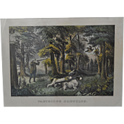 "Original Currier & Ives Hand Colored Small Folio Lithograph ""Partridge Shooting"""