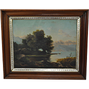 SOLD Mid 19th Century Lakeside Landscape with Long Pier Oil on Canvas