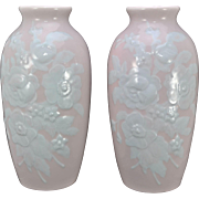 Pair of Camille Tharaud Limoges Pate Sur Pate Porcelain 12 Inch Vases