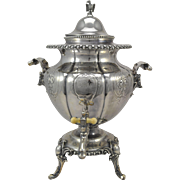 REDUCED Antique E.V. Haughwout Silver Plate Hot Water Urn w Boars Heads & Eagle 1860