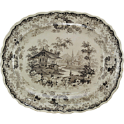 Antique Brown Staffordshire Swiss Scenery 16 Inch Platter c 1830