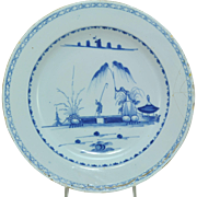 Antique 18th Century Blue & White English Delft Chinoiserie Charger circa 1750