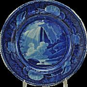 Antique Historical Staffordshire Dark Blue Table Rock Niagara Falls Plate 1825